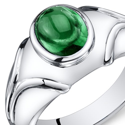 Mens Simulated Emerald Ring Cabochon 2.50 Carats Sterling Silver Sizes 8 To 13