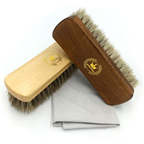 Shoe Shine Brush Horsehair Brush Kit Including:Horse Hair Brush X2, Suede Polishing Cloth X1