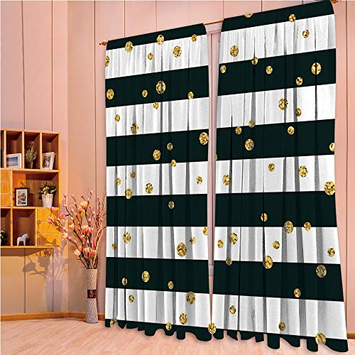 ZHICASSIESOPHIER Modern Style Room Darkening Blackout Window Treatment Curtain Valance for Kitchen/Living Room/Bedroom/Laundry,Lines and Stripes with Polka Dots Circles Image 108Wx63L Inch (Valance Dot Circle)