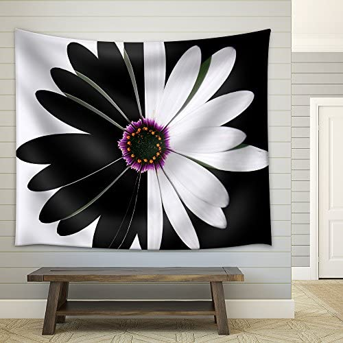 Flower Black and White Fabric Wall