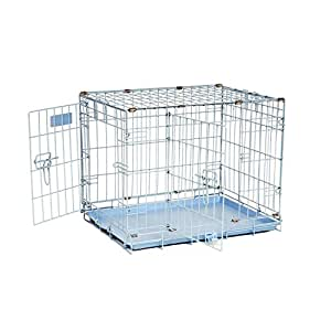 """Precision Pet """"ProValu,"""" Double Door Dog Crate Blue"""