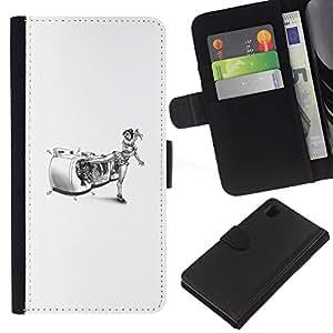 Sony Xperia Z1 L39 - Dibujo PU billetera de cuero Funda Case Caso de la piel de la bolsa protectora Para (Karate Woman - Funny)