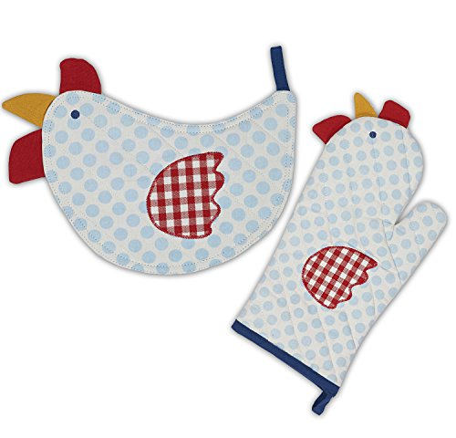 DII 100% Cotton, Machine Washable, Everyday Kitchen Basic, Oven Mitt and Pot Holder Gift Set, Chicken Shape ()