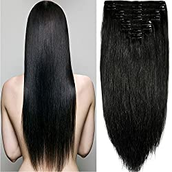 "s-noilite 10""-22"" Thick Double Weft 130-160g Grade 7A 100% Clip in Remy Human Hair Extensions Full Head 8 Piece (22""-160g #1 Jet Black)"