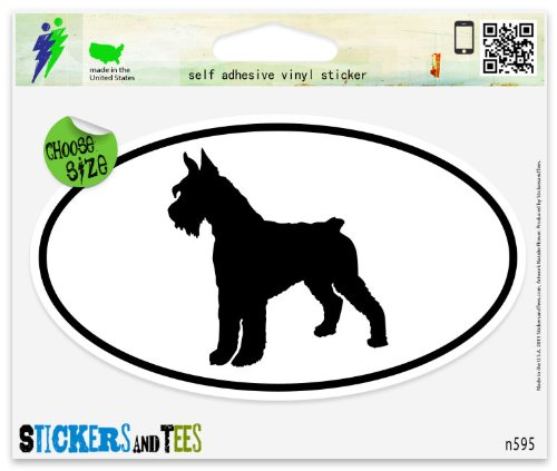 Breed Giant Schnauzer (Giant Schnauzer Dog Breed Shape Oval Vinyl Car Bumper Window Sticker 5