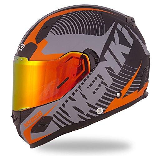 Orange Face Helmet - NENKI Helmets NK-856 Full Face Motorcycle Helmets DOT Approved With Iridium Red Visor and Inner Sun Shield Attached Outer Clear Visor (XL, Matt Black & Orange)