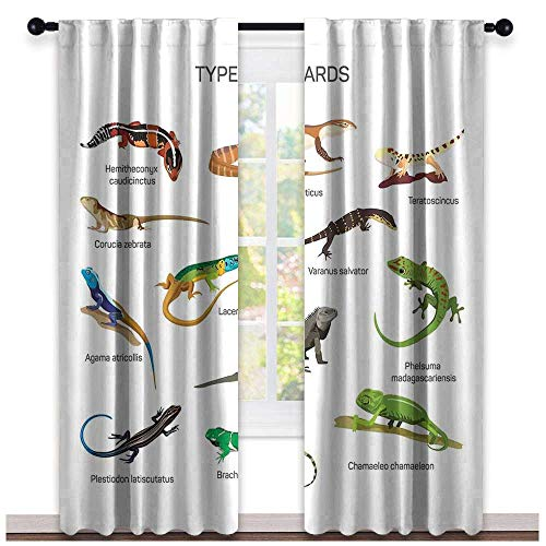 hengshu Reptiles, Curtains Darkening Blackout, Lizard Family Design Primitive Reptiles Camouflage Exotic Creatures Home Design, Curtains for Boys Room, W72 x L108 Inch Multi