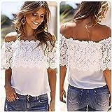 Baomabao Women Off Shoulder Casual Blouse Lace Crochet Chiffon Shirt ( Medium)