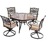Hanover TRADDN5PCSWG Traditions 5 Piece Dining Set in Tan with 48'' Glass-top Table