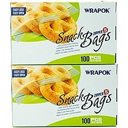 "WRAPOK Snack Bags 6.3""x4"" Food Saver Zipped Bag Microwave Frezer Safe Total 200 Count"