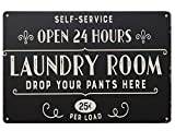 SKYC Open 24 Hours Laundry Room Vintage Retro Metal Sign Home Bathroom Laundry Decor Wash Room Signs 8X12Inch