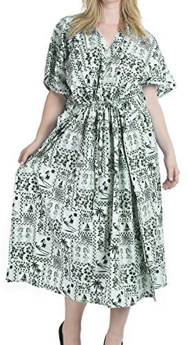 di delle donne notte il abito più sonno insabbiare LEELA salone LA caftano n807 Verde cotone usura caftano x7tpUg