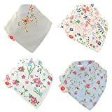 Baby Bandana Drool Bibs, Super Absorbent For Drooling And Teething Baby Girls, Fits Newborn To Toddler, Award Winning, 4 Pack (Delicate Blues) By Zippy.