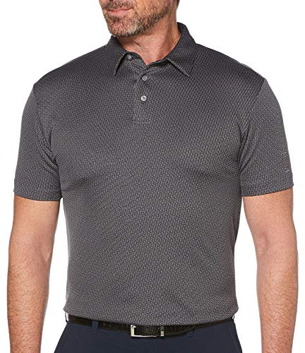 PGA TOUR Mens Mini Jacquard Print Polo Shirt Small Caviar Black