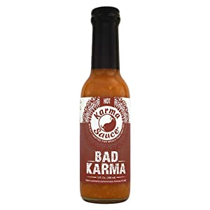 Bad Karma Hot Sauce | Hot With A Savory-Sweet Tang | No Preservatives, Vegan, Extract Free, Sugar Free, Paleo / Keto Friendly | Made In Finger Lakes, USA | 5 fl. oz bottle