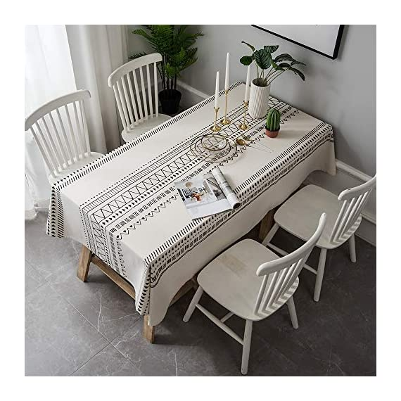 """Lahome Boho Style Geometric Tablecloth - Cotton Linen Table Cover Kitchen Dining Room Restaurant Party Decoration (White, Round - 60"""") - DRESS UP YOUR DINNER TABLE - Lahome Bohemian tablecloth measures 60"""" (150 cm), is heavy weight, eco-friendly, and long-life used. Fits tables that seat 4 people HEALTHY AND ECO-FRIENDLY - Cotton linen material gives you comfortable feeling and has strong anti-static ability, soft and breathable, good for your health EASY TO CARE FOR - Machine washable in cold water. Tumble dry low heat or air dry; Warm ironing if needed. No bleaching - tablecloths, kitchen-dining-room-table-linens, kitchen-dining-room - 51BYNaIe6AL. SS570  -"""