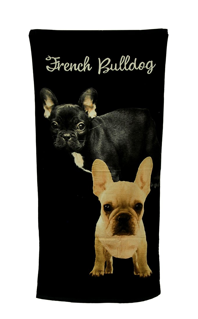 Zeckos Cotton Beach Towels 2 French Bulldogs Black Beach Towel 30 X 60 Inch 30 X 60 X 0.13 Inches Black