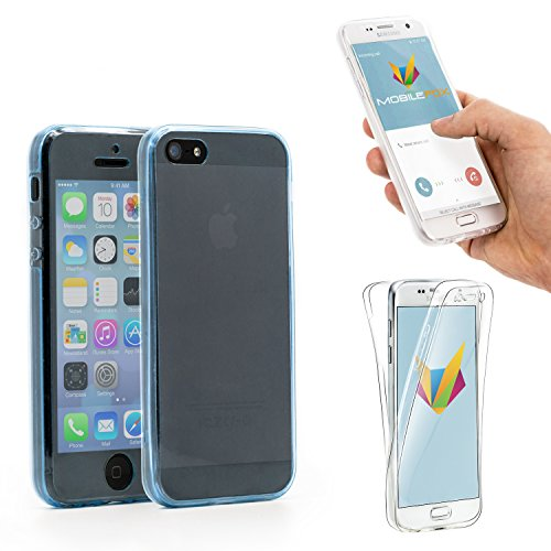 Mobilefox 360° Full Case Silikon Hülle Display Schutz Apple iPhone 5/S/SE Blau