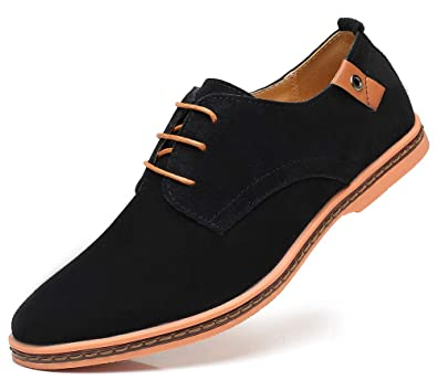 XIANV Men's Classic Suede Oxford Dress Shoes Lace Up Oxfords Shoes Men Business Casual Shoes