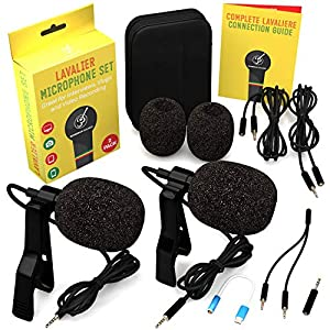 Lavalier Microphone 2 Pack Bundle - Omnidirectional Lapel Mic with Clip-On Suitable for iPhone, Android, Samsung, GoPro, DSLR - Professional Lapel Mic for YouTube and Vlogging Wireless Lavalier Microphones