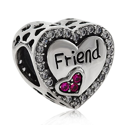 Friend Charm 925 Sterling Silver Friendship Charm Heart Charm Anniversary Charm for DIY Charms Bracelet