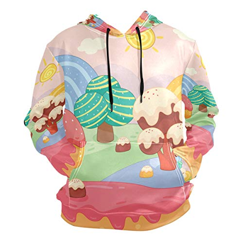 Lolly Colorful Hoodie Hooded Athletic Sweatshirts 3D Print for Girls Boys Men(Health Fabric)