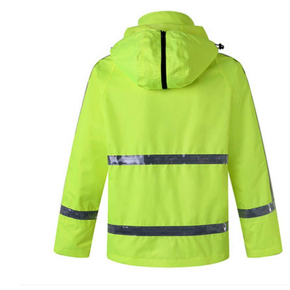 GSHWJS- trash can Waterproof Rain Jacket and Pants, Reflective Safety Raincoat Hooded Poncho Set, Green Reflective Vests (Size : XXL) by GSHWJS- trash can (Image #2)