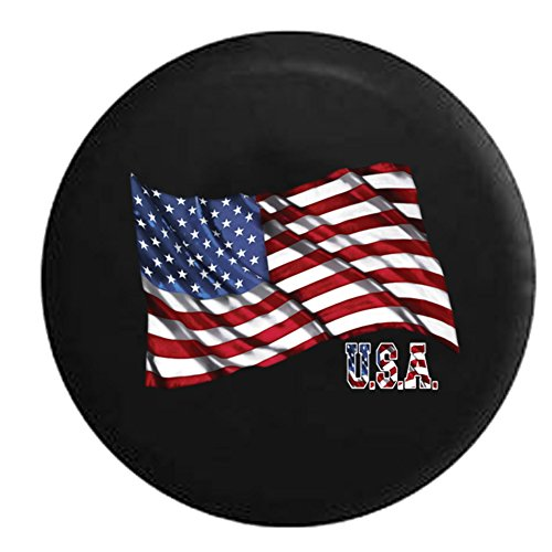 (Waving United States American Flag USA Spare Tire Cover Black 33 in)