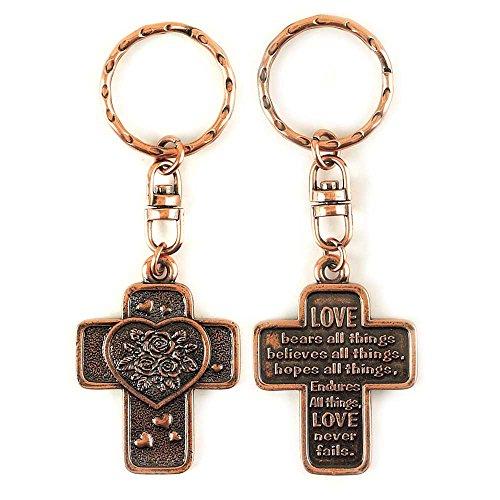 Bronze Metal Love Bears All Things, Never Fails Key Ring Keychain - Bronze Corinthian Corinthian Design