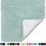 Gorilla Grip Original Luxury Chenille Bathroom Rug Mat, 30x20, Extra Soft and Absorbent Shaggy Rugs, Machine Wash Dry, Perfect Plush Carpet Mats for Tub, Shower, and Bath Room, Spa Blue