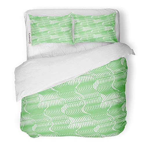 (Emvency 3 Piece Duvet Cover Set Brushed Microfiber Fabric Breathable Abstract Green Guilloche As Certificate Diploma Banknotes Linear Pattern Bedding Set with 2 Pillow Covers King Size)
