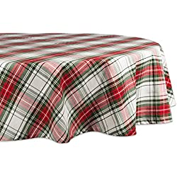 "DII 70"" Round Cotton Tablecloth, Christmas Plaid - Perfect for Dinner Parties, Christmas, Holidays, or Everyday use"