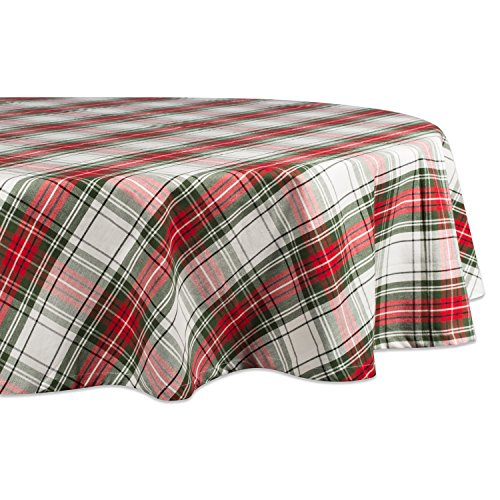 """DII Christmas Plaid Square Tablecloth, 100% Cotton with 1/2"""" Hem, 70"""" - Seats 4 to 6"""