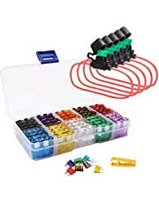 FICBOX 100pcs Car Blade Standard Fuses Set + 5pcs Inline Fuse Holders Automotive Replacement Fuses for Car Truck SUV RV Boat