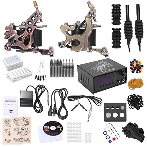 Shark Complete Professional Tattoo Kit 2 Machines Gun Power Supply Needles Grips Tips