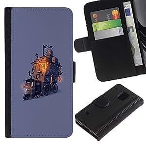 KingStore / Leather Etui en cuir / Samsung Galaxy S5 V SM-G900 / Dessin pour enfants Fairytale Violet