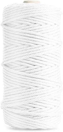 Hilo Macrame 3mm x 100m Cuerda Macrame Manualidades Cuerda de Algodon Cordel Natural para Macram/é Colgador de Plantas Cordon de Algod/ón para DIY Artesan/ía Costura Colgar Fotos
