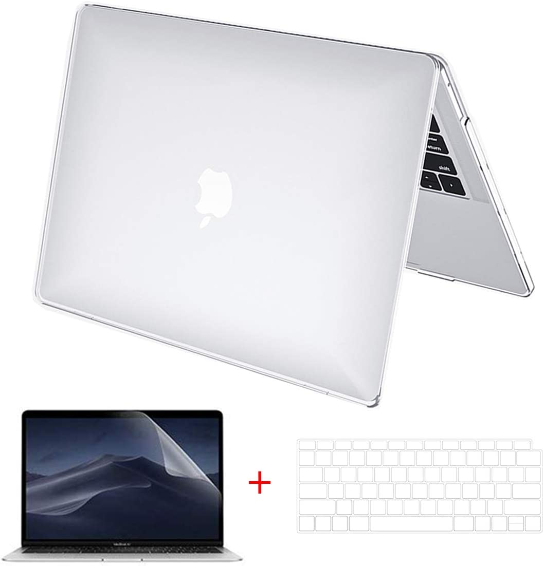 "MacBook Air 13 inch Case Clear, Arike Crystal Clear Laptop Hard Shell Slim Snap On Case with Keyboard Cover & Screen Protector Compatible for MacBook Air 13"" Old Version 2010-2017 (A1466 &A1369)"