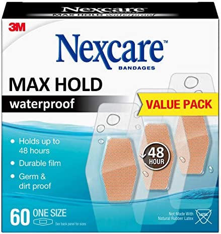 Nexcare Max Hold Waterproof Bandages, Cream, 60 Count (Pack of one)