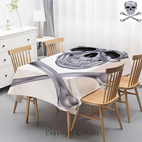 Premium Linen Printed Tablecloth,Ideal for Grand Events and Regular Home Use,Machine Washable,55x87 Inch,Silver,Vivid Skull and Crossbones Dangerous Scary Dead Skeleton Evil Face Halloween -