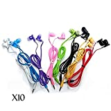 SeattleTech Wholesale Pack of 10 New 3.5mm Colors Simple In-ear Earphones Headphones Ear-buds - Mixed Colors