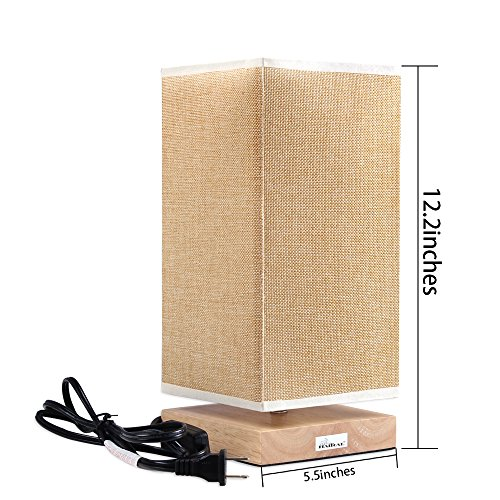 HAITRAL Table Lamp Bedside Desk Lamp with Fabric Shade Wood Base Night Light for Bedroom, Living Room, Baby Room, College Dorm by HAITRAL (Image #1)