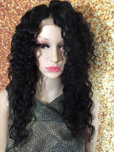18 INCH HUMAN HAIR SEWN LACE FRONT CLOSURE WIG BRAZILIAN REMY HANDMADE CURLY #2 (Angel Brown Wig)