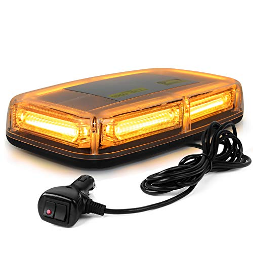 WoneNice 12V 60W 6-COB LED Emergenecy Warning Flashing Lights Amber Hazard Beacon Lights Bar Recovery Strobe Light with Magnetic Base for Car Vehicle Truck