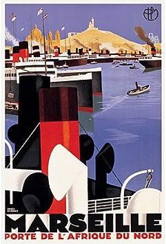 Marseille Port De L/'Afrique 1930s French Vintage Style Travel Poster 24x36
