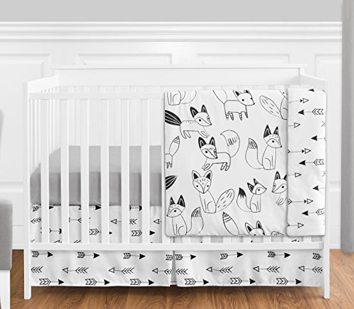(Grey, Black and White Fox and Arrow Baby Boys or Girls 4 Piece Crib Bedding Set Without Bumper)
