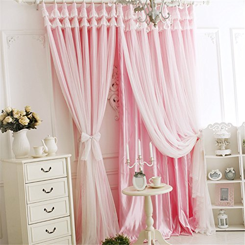 Lotus Karen Lotus Karen Princess Curtains for Girls Bedroom PC013 2018 Sweet Korean Style Solid Color Grommet Blackout Tulle Valance Curtains for Living Room,Bedroom 1 Panel price tips cheap