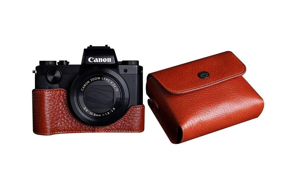 キャノン G5 X 用本革レンズカバー付カメラケース ブラウン B07SN2T24S カメラケース&レンズカバー&ストラップTP15 FreeSize