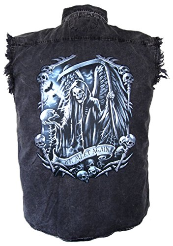 Leather Supreme Men's Grim Reaper Skulls and Scythe Denim Cutoff Biker Shirt-Charcoal-4Xl