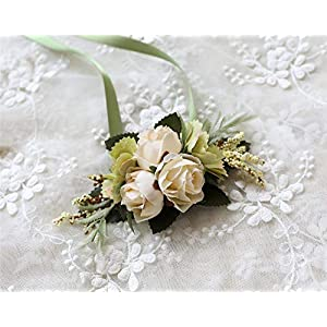 MOJUN Rose Wrist Corsage Artificial Bridal Rose Wedding Hand Flowers Prom Party Suit Decoration, Pack of 1, Beige 92